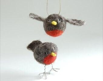 Robin / needle felted bird / robin ornament / felt robin