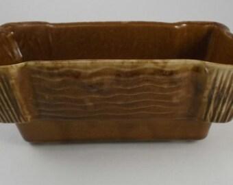 Vintage Planter, USA Pottery Honey Brown Drip, Brush Rectangular Planter