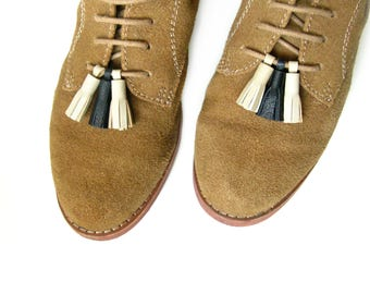 """Teeny Shoe Tassels   Tassels for Shoes   Shoe Lace Charms   1"""" Leather Footwear Tassels- Set of 6   Leather Tassles for Shoes   Tassel Shoes"""