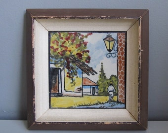 """Vintage Mexican Pictorial Tile Hand Painted Traditional Ceramic Village Scene 5"""" x 5"""" framed"""
