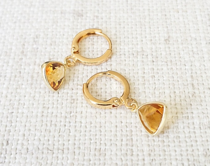 Citrine Earrings, Gold Citrine Earrings, Gold Citrine Triangle Earrings, Triangle Citrine Earrings, Citrine Gold Earrings, Citrine Triangles