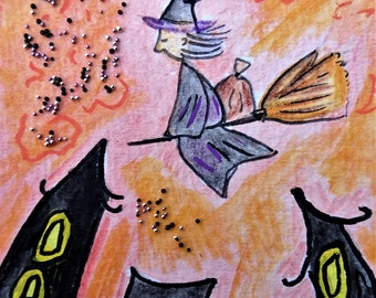 ACEO.Card.Little art.Halloween art.The late witch.Aceo art.Aceo card.Witch on the broom.Affordable art.Gioia Albano.Witch art.italian Befana