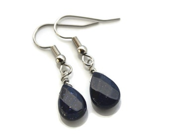 Faceted Blue Goldstone Teardrops . Earrings