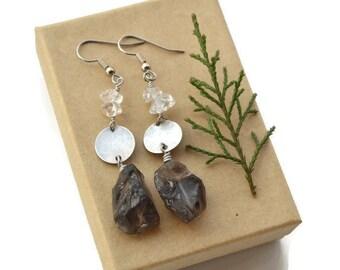 Smokey Quartz Gemstones . Clear Quartz Crystals . Silver Discs . Earrings