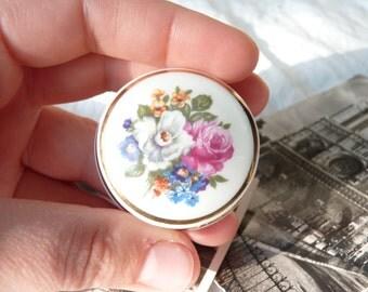 Vintage Little Porcelain Box - Floral Pattern - Made in France - Collectibles - Trinket Box - Vintage French Finds - Home Decor