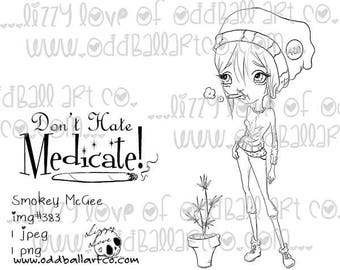 INSTANT DOWNLOAD Big Eye Female 420 Activist Digital Stamp - Smokey McGee Image No.383 by Lizzy Love