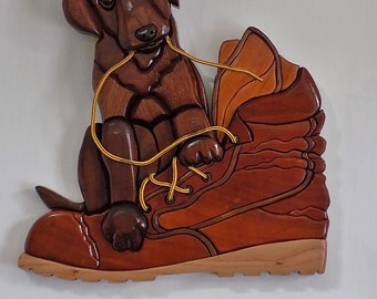 Handmade Intarsia Labador Puppy Dog and Work Boot Hanging Wall Art