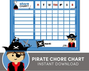 Chore Chart - Pirate - Instant Download  Reward Chart - Behavior Chart - Instant Download
