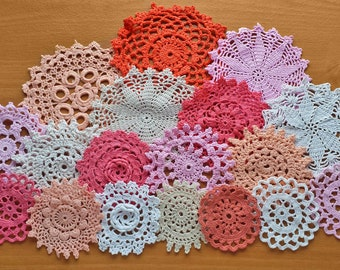 18 Crochet Doilies, White, Pink, Peach, Beige Hand Dyed Vintage Doilies, Pastel Doilies, Small Doilies for Crafts, Dream Catchers, and More