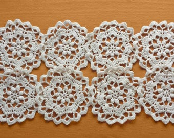 Small Beige Crochet Doilies, Vintage Crochet Doilies, Set of 8, Rounded Doily Medallions for Crafts, Crochet Mandalas