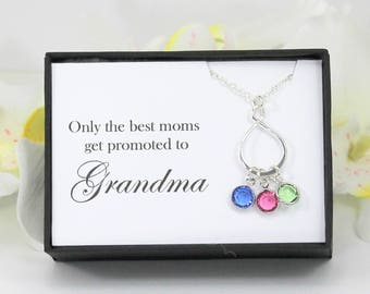 Grandma Necklace, Custom Birthstone Charm Necklace, Grandmother Necklace, Family Tree Jewelry, Children Birthstones, Gift for Grandma, Mom