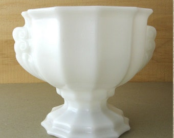Milk Glass Large Pedestal Bowl For Candies Jewelry Soaps in Bathroom Flower Bowl Planter  and Knick Knack Holder Loose Change Coin Holder