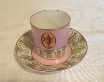 Limoges Tea Cup and Saucer; Demi; Hand Painted And Decorated By The Atelier Camille Le Tallec In Paris  circa 1960   DSC