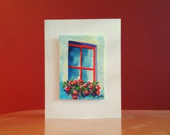 """Watercolor Hand Painted Card, """"WINDOW FLOWERS"""" hand painted watercolor card, 3D card, ACEO Card, window, flowers, vase,cards, still life"""