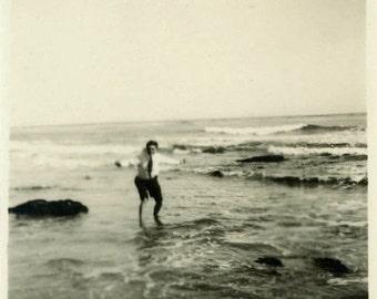 "Vintage Photo ""Playful Memory"" Snapshot Antique Photo Old Black & White Photograph Found Paper Ephemera Vernacular - 14"