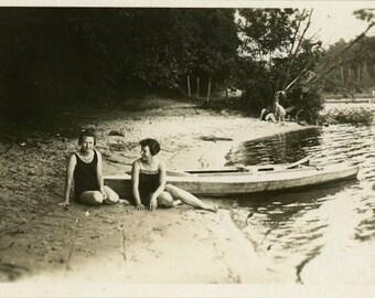 "Vintage Photo ""Secret River Beach"" Snapshot Antique Photo Old Black & White Photograph Found Paper Ephemera Vernacular - 48"