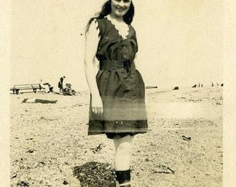 "Vintage Photo ""The Fashionable Beach Beauty"" Snapshot Antique Photo Old Black & White Photograph Found Paper Ephemera Vernacular - 42"