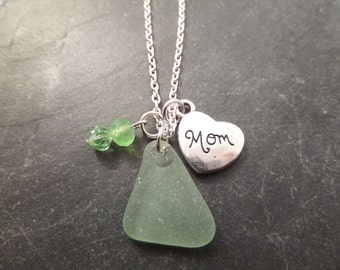 Mom Charm Necklace with Light Green Scottish Sea Glass, Jewelry from Scotland, Mother's Day Gift