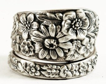 Alvin Wild Flower Ring, Antique Sterling Silver Spoon Ring, Wedding Ring Alternative, Handmade Gift, Botanical Jewelry, Adjustable Size 6159