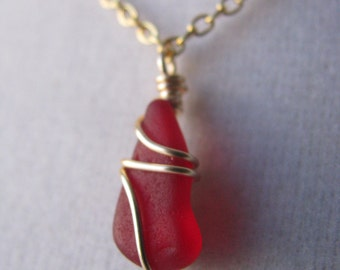Red Sea Glass Tiny Layering Necklace Red Beach Glass Gold Wire Wrapped Bridesmaid Gift Beach Real SeaGlass Jewelry