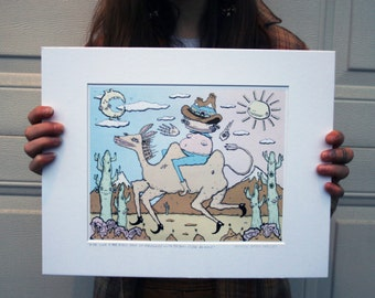 8 x 11 Art Print - Ride Like A One Eyed Jack of Diamonds - Outlaw in the Desert