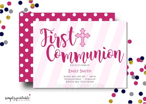 Girl Communion Invitation, 1st Communion Invite, Baptism, Religious, Pink