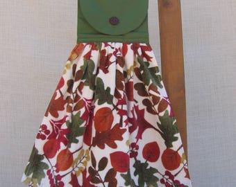 Autumn Leaves Kitchen Tea Towel, Hanging Kitchen Dish Towel, Hand Towel, Housewarming Gift
