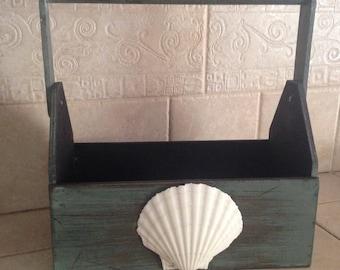Wood Carry All Box-Beach Box-Beach Wedding Decor-Flip Flop Holder-Shell Box-Gardening Tote
