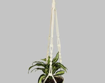 "COTTON Macrame Plant Hanger ~ Hanging Basket 40"" (1m) ~ Strong"