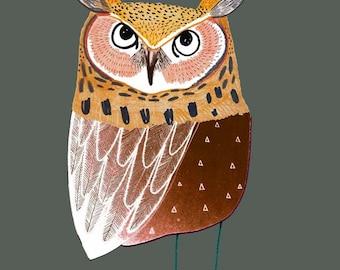 Eared Owl. Nursery art baby nursery decor nursery print Kids art illustration print boy room art.
