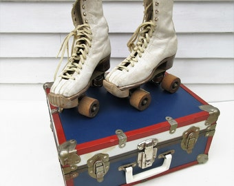 Vintage Roller Skates, Roller Skate Suitcase, Old Metal Suitcase, Leather Shoes, Wood Rollers - As Is
