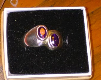 Sterling Silver Twin Amethyst Ring size 7
