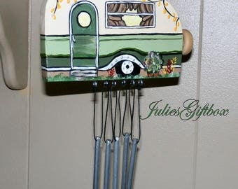 Wind Chimes-Hand Crafted Wood Travel Trailer Camper Wind Chime Hand Painted-Made In The USA-Ready To Ship