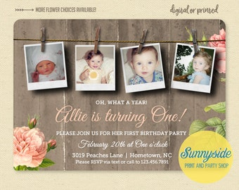 Girls First Birthday Photo Invitation, Country Rustic Birthday Invite, Printed 1st Birthday Invitation, collage