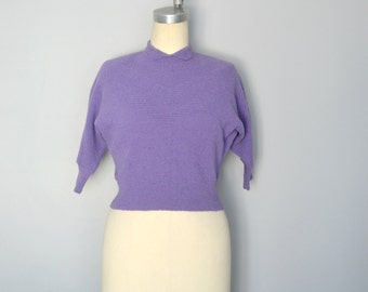 Cropped Purple 1940s Sweater with Dolman Sleeves and Collar