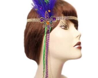 Flapper Headband Mardi Gras Fleur Roaring 20's Gatsby Feathered Fascinator Showgirl