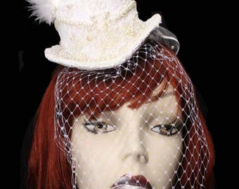 Ivory Pearls Lace Mini Wedding Top Hat Fascinator Veiled Victorian Steampunk Bride Birdcage White