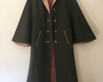 Vintage German cape/coat with bright red lining