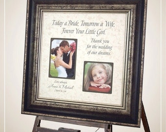 Personalized Frame Father of the Bride Mother of the Bride Gift Wedding Sign Picture Frame, TODAY A BRIDE 16x16
