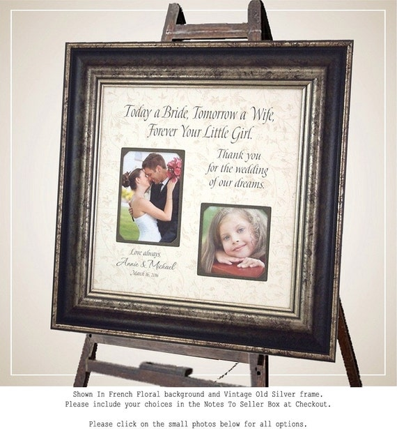 Personalized Wedding Frame Father of the Bride Mother of the Bride Gift Wedding Sign Picture Frame, TODAY A BRIDE 16x16