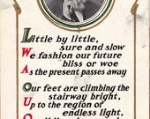 Little By Little, Bliss or Woe- 1900s Antique Postcard- Henry Wadsworth Longfellow- Poem Quote- Poet Portrait- M T Sheahan- Paper Ephemera