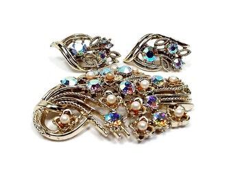 Coro AB Rhinestone Vintage Jewelry Set Faux Pearl Gold Tone Brooch Clip On Earrings Sparkle Glitz Glam Bling Wedding Prom Formal