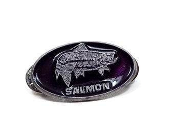 Vintage Fish Tack Pin Purple Enameled Silver Tone Salmon Fishing Fisherman Gift Double Clutch Back Oval