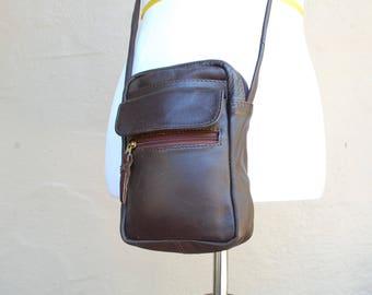 Vintage Chocolate Brown Leather Purse Pouch Shoulder Bag Boho Hippie Hipster Native Small Pouch Crossbody Hobo Bag Passport Holder Biker Mod