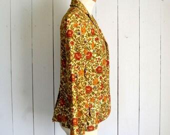 Corduroy Blazer Jacket - 1960s Haight Ashbury Fashion - Floral Baroque Print - Vintage Hippie Jacket - Medium M