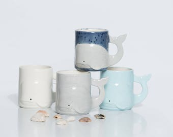 Whale Mug Handmade Large Ceramic Coffee Mugs from my Charleston, SC Studio