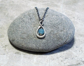 Aquamarine Infinity Necklace March Birthstone Pendant Jewelry Antique Silver