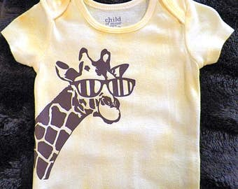 Infant unisex body suit, creeper,onesie, hand-dyed yellow with brown giraffe in glasses, 6-12 month, boy, girl, shower gift