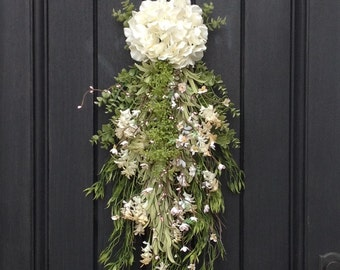 Spring Wreath Summer Wreath Teardrop Vertical Door Swag Decor Cream, Pink, Lime Artificial Floral Swag Indoor/Outdoor Decoration Wispy Swag