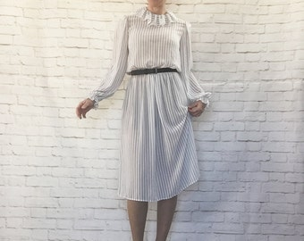 Vintage 80s Sheer Ruffled High Collar Black White Pin Striped Midi Dress M Clearance Sale